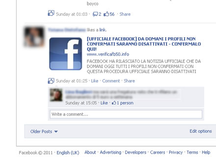 Screenshot dell'ultima bufala di Facebook